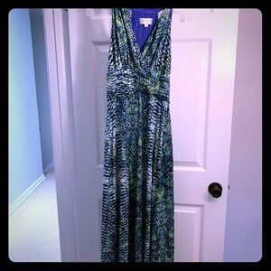 Blue green snake print maxi dress.